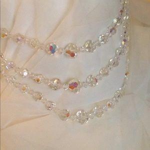 Vintage 3 Strand Crystal Necklace